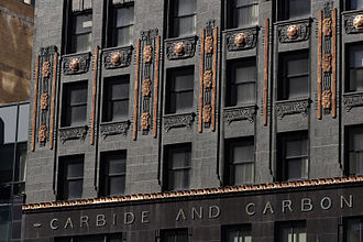 Carbide & Carbon Building - Gold leaf accents above the entrance to the building