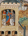 Carimes and Lentius writing their narrative of the harrowing of hell; Christ harrowing hell (f. 120) Cropped.jpg