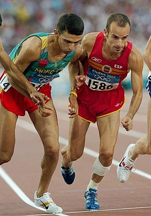 Four-minute mile - Current mile world record holder Hicham El Guerrouj (left) at the start of a race