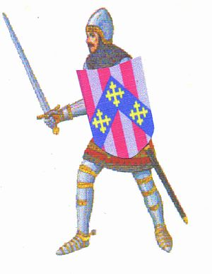 William Boyd Carpenter -  Sample of a medieval knight with an early Carpenter Coat of Arms on shield.
