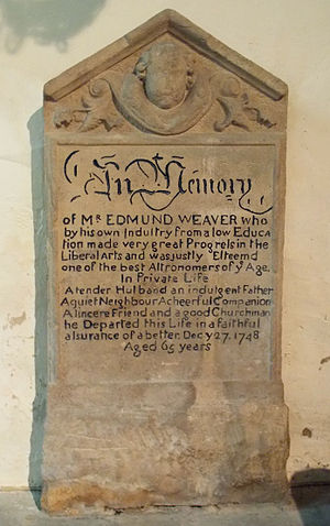 Edmund Weaver (astronomer) - Memorial to Edmund Weaver in St Vincent's Church, Caythorpe