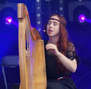 Cécile Corbel - Cécile Corbel and her new celtic harp in 2014.
