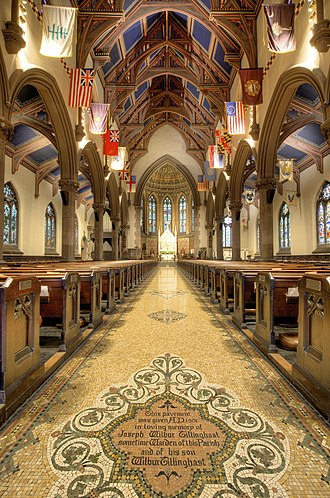 St. Peter's Episcopal Church (Albany, New York) - Center aisle mosaic, designed by Jacob Adolphus Holzer