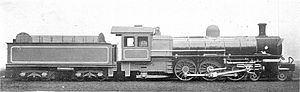 South African type XM2 tender - Type XM2 tender on CSAR Class 10, c. 1904