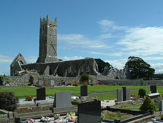 Claregalway Friary - The Claregalway Friary, viewed from the modern cemetery to its north