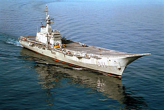 Ski-jump (aviation) - The small Spanish-built Thai carrier HTMS Chakri Naruebet with ski-jump deck in the South China Sea in 2001.