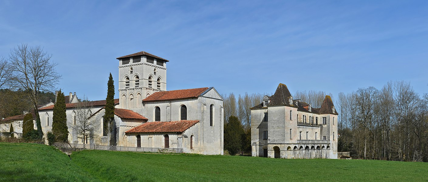 South panorama of the abbey of Chancelade (12th-17th centuries), Dordogne, France.