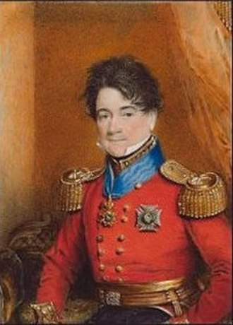 "Thomas Hawker (British Army officer) - Portrait miniature by Charles Foot Tayler, painted 1821, showing Hawker ""wearing staff uniform, his scarlet coat with gold epaulettes, his black collar with gold lace, gold waist-sash, the belt plate with royal cipher"""