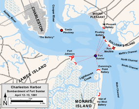 Map showing the location of Fort Sumter