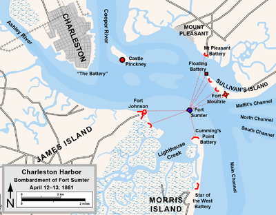 Map depicting Charleston harbor and the location of fortifications in 1861, with lines showing the paths of artillery fire against Fort Sumter