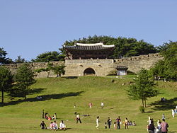 A front view of Sangdangsanseong