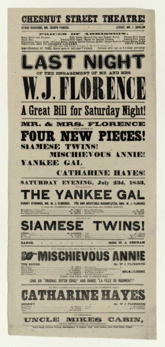 Chestnut Street Theatre - Advertisement for plays at the Chestnut Street Theatre, July 1853