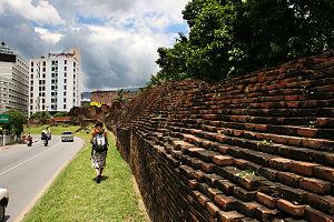 Anciennes fortifications autour des Douves de Chiang Mai.