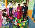 Children's play area established in the Pink Booth manned by all-women crew of polling officials, at Haveri, during the Karnataka Assembly Election, on May 12, 2018.JPG