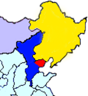 North China Buffer State Strategy - Map showing the territory of the Hebei–Chahar Political Council in blue and the East Hebei Anti-Communist Autonomous Government in red