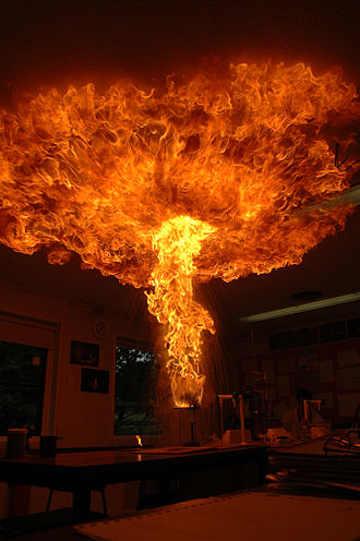 Fire class - Laboratory simulation of a chip pan fire: a beaker containing wax is heated until it catches fire.  A small amount of water is then poured into the beaker. The water sinks to the bottom and vaporizes instantly (boilover), ejecting a plume of burning liquid wax into the air.