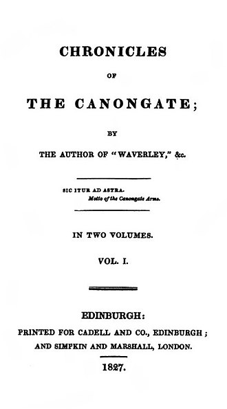 Chronicles of the Canongate - Image: Chronicles of the Canongate 1st series