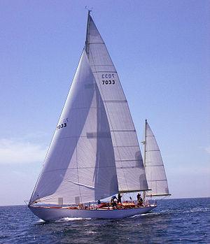 Yawl - A yawl with jib, main, and mizzen sails flying