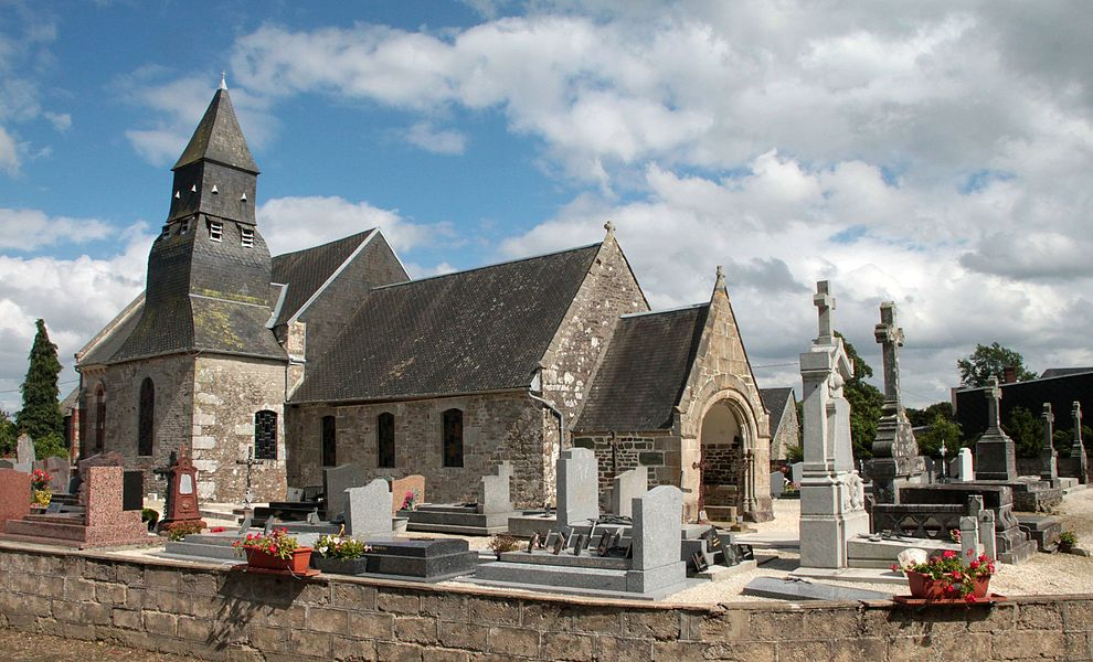 Church Saint Martin, in Annebecq, Calvados, France. 15th century. View from West.