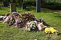 Church of St Mary Magdalen Laver Essex England - new grave with floral tributes.jpg