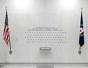 Central Intelligence Agency - The 113 stars on the CIA Memorial Wall in the original CIA headquarters, each representing a CIA officer killed in action
