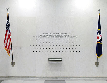 The 113 stars on the CIA Memorial Wall in the original CIA headquarters, each representing a CIA officer killed in action Cia-memorial-wall.jpg