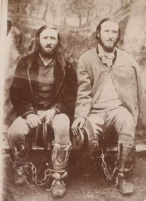Clarke brothers - The Clarke brothers apprehended in Braidwood Jail, May 1867. Thomas (right) is shot in the arm.