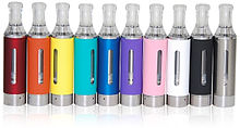 A variety of colorful, high-tech e-cigarettes.