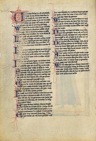 Der von Kürenberg - The 15 strophes of Der von Kürenberg's lyrics in the Codex Manesse, folio 63v.