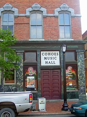 Cohoes Music Hall - Main entrance to Music Hall, 2008