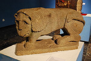 Soconusco - Colonial era lion sculpture from the region on display at the Regional Museum of Anthropology and History of Chiapas