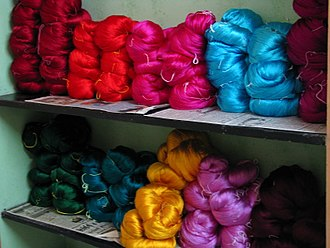 Silk in the Indian subcontinent - Colours of India — Silk yarn waiting to be made into saris, Kanchipuram.