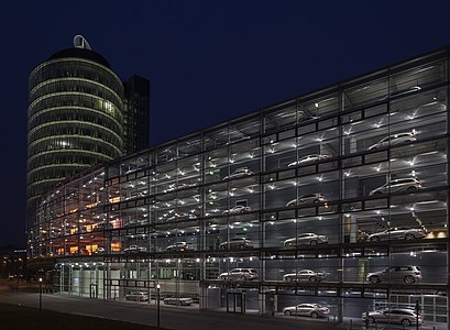 Mercedes-Benz dealership with its huge shop window, Munich, Germany