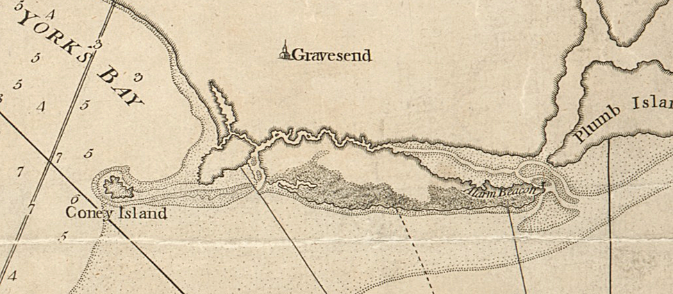 Coney Island (Detail) Chart of the entrance of Hudson's River, from Sandy Hook to New York - with the banks, depths of water, sailing-marks, &ca (NYPL b14099970-1222740)