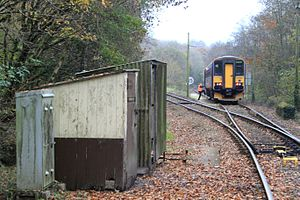 Looe Valley Line - The guard rejoins the train at Coombe Junction after operating the point controls