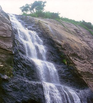Courtallam - Upper portion of Old Falls cascade in Courtallam
