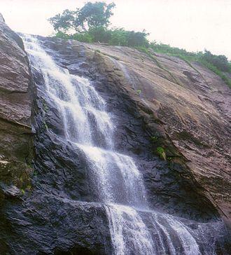 Courtallam - Upper portion of Old Falls cascade in Courtallam