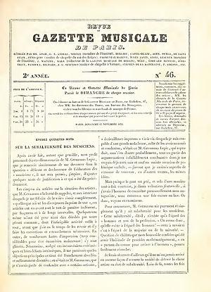 Revue et gazette musicale de Paris - Cover of Revue et Gazette Musicale de Paris (15 November 1835)