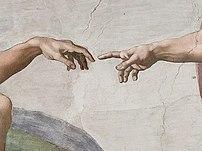 Creation of Adam, hands in detail