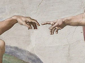 Creation of Adam, hands in detail