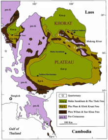 Map of northeast and southeastern Thailand showing the distribution of Cretaceous geological strata