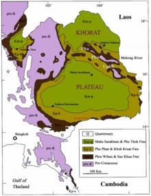 Karte von Nordost- und Südostthailand mit der Verteilung der geologischen Schichten der Kreidezeit