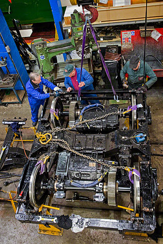 Bogie - Workers maintaining an electro-mechanical bogie from a tram at Crich Tramway Village