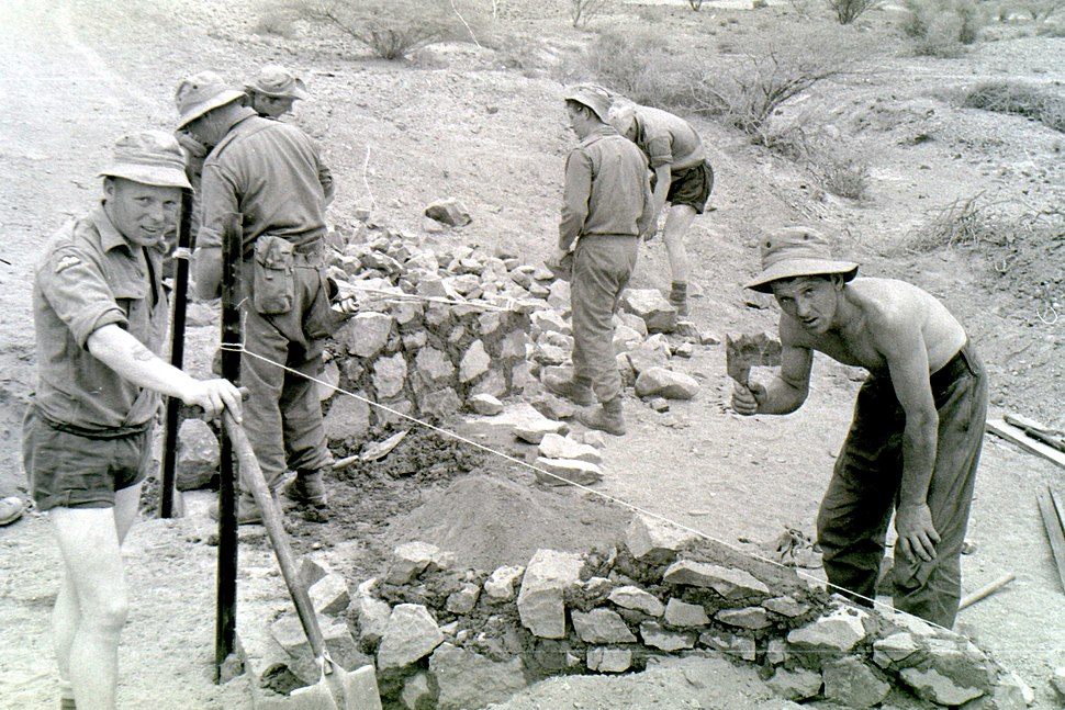 Culvert construction on the Dhala Road by Territorial Army Sappers of 131 Parachute Engineer Regiment in April 1965