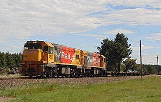 New Zealand DC class locomotive - DCP 4801 and DC 4346 with a mainline shunt south of Christchurch.