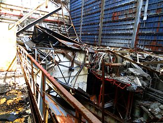 Chernobyl Nuclear Power Plant - The damaged Turbine Hall at Chernobyl