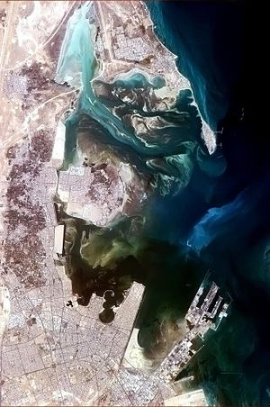 Ras Tanura - Tarut Bay, seen from the International Space Station; Ras Tanura is on the north side of the bay