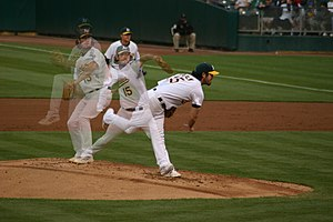 Dan Haren - Pitching in a game against the Seattle Mariners