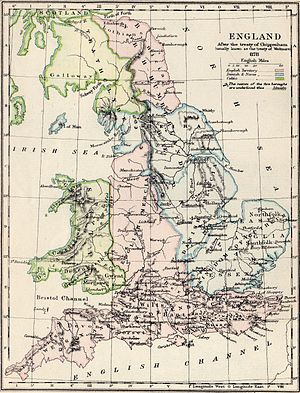 Treaty of Wedmore - A 19th century map illustrating the so-called Treaty of Wedmore