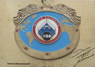 Dariusz Michalczewski - Autographed replica of Michalczewski's WBO title in Dziwnów